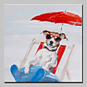 cheap Animal Paintings-Oil Painting Hand Painted - Animals Animals / Simple / Modern Stretched Canvas