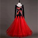 זול הלבשה לריקודים סלוניים-ריקודים סלוניים שמלות בגדי ריקוד נשים הצגה Chinlon אורגנזה אפליקציות קריסטלים / אבנים נוצצות שרוול ארוך גבוה שמלה