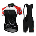 cheap Cycling Jersey & Shorts / Pants Sets-Malciklo Women's Short Sleeve Cycling Jersey with Bib Shorts Black Black / White Floral Botanical Bike Jersey Bib Tights Breathable Anatomic Design Reflective Strips Sweat-wicking Sports Polyester