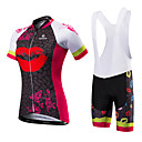 cheap Cycling Jersey & Shorts / Pants Sets-Malciklo Women's Short Sleeve Cycling Jersey with Bib Shorts - Red / White / Black / Red British Bike Jersey / Bib Tights, Quick Dry, Anatomic Design, Ultraviolet Resistant Polyester, Spandex / Lycra