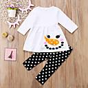זול חולצות לבנות-סט של בגדים כותנה אביב סתיו שרוול ארוך ליציאה חגים אחיד מנוקד דפוס בנות חמוד פעיל לבן