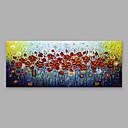 זול מקרנים-ציור שמן צבוע-Hang מצויר ביד - פרחוני / בוטני מודרני כלול מסגרת פנימית / בד מתוח