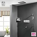 זול כיסויים-עכשווי מותקן על הקיר מקלחת גשם שפורפרת יד כלולה תרמוסטטי שסתום קרמי ארבע ידיות חמישה חורים כרום, ברז למקלחת