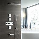 זול ברזים למקלחת-קיר עכשווי מותקן גשם מקלחת handshower כלל תרמוסטטי קרמיקה שסתום חמש מטפל שמונה חורים כרום, ברז מקלחת