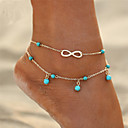 cheap Anklet-Turquoise Anklet - Infinity Double Layered, Bohemian, Fashion Gold / Silver For Gift / Going out / Bikini / Women's
