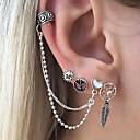 baratos Brincos-Homens / Mulheres Brincos Curtos / Punhos da orelha - Formato de Folha, Sol, Coração Fashion Prata Para Presente / Diário