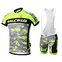cheap Cycling Jersey & Shorts / Pants Sets-Malciklo Men's Short Sleeve Cycling Jersey with Bib Shorts - White Black Camo / Camouflage Bike Clothing Suit Breathable 3D Pad Quick Dry Back Pocket Sports Coolmax® Lycra Camo / Camouflage Mountain