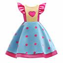 cheap Girls' Dresses-Kids Girls' Casual Polka Dot / Color Block Short Sleeve Cotton Dress Light Blue / Cute
