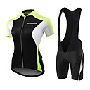 cheap Cycling Jersey & Shorts / Pants Sets-Malciklo Women's Short Sleeve Cycling Jersey with Bib Shorts - White / Black Black / Green Solid Color Bike Jersey Breathable Anatomic Design Sweat-wicking Sports Polyester Spandex Coolmax® Solid