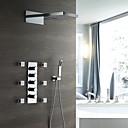 billige Badekraner-moderne veggmontert regndusj hånddusj inkludert termostatisk keramisk ventil fem håndtak ni hull krom, dusj kranen