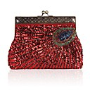 cheap Clutches & Evening Bags-Women's Bags Polyester Evening Bag Beading Embroidery Fuchsia / Coffee / Gray Green