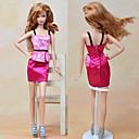 رخيصةأون إكسسوارات دميات-الفساتين قطعة واحدة إلى الدمية باربي فوشيا منسوجات / ستان كلاسيكي فستان إلى لفتاة دمية لعبة