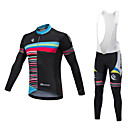 cheap Cycling Jerseys-Malciklo Long Sleeve Cycling Jersey with Bib Tights - White / Black Bike Clothing Suit, Quick Dry, Anatomic Design, Reflective Strips, Winter, Lycra Geometric / Stretchy / High Elasticity / Advanced