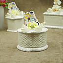 cheap Favor Holders-irregular / Oval Shape / Round Ceramic Favor Holder with Satin Bow / Pearls Favor Boxes - 1pc