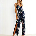 cheap Latin Shoes-Women's Holiday / Going out Boho Slim Jumpsuit - Floral, Backless / Split High Waist Wide Leg Strap / Summer / Fall / Sexy
