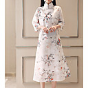baratos Gargantilhas-Mulheres Temática Asiática Reto Vestido Floral Médio