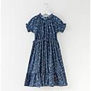 זול שמלות לבנות-שמלה פוליאסטר אביב קיץ שרוולים קצרים יומי חגים פרחוני הילדה של פשוט פעיל פול כחול בהיר