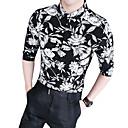 hesapli 3D nevresim-Erkek İnce - Gömlek Çiçekli Sokak Şıklığı Kulüp