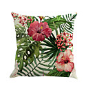 cheap Abstract Paintings-1 pcs Cotton / Linen Pillow Cover / Novelty Pillow / Pillow Case, Floral / Novelty / Fashion Flower / Tropical