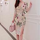 olcso Lány divat-Női Pamut Bodycon Ruha - Nyomtatott, Virágos Térdig érő V-alakú / Tavasz / virágmotívumok