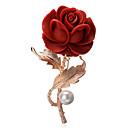 baratos Broches e Pins-Mulheres Broches - Chapeado Dourado Flor Boêmio, Europeu, Elegante Broche Vermelho Para Festa / Diário
