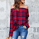 cheap Women's Heels-Women's Holiday / Going out Street chic Cotton Shirt - Plaid Off Shoulder Black L / Spring / Summer