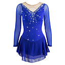 זול שמלות להחלקה על הקרח-שמלה להחלקה אמנותית בגדי ריקוד נשים / בנות החלקה על הקרח שמלות אקווה מרין ריינסטון / נצנצים גמישות גבוהה הצגה / ספורט פנאי ביגוד להחלקה