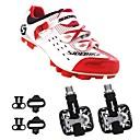 baratos Assentos & Selins-SIDEBIKE Adulto Sapatilhas de Ciclismo com Travas & Pedal / Tênis para Mountain Bike Nailom Almofadado Ciclismo Vermelho e Branco Homens