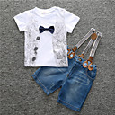 cheap Boys' Clothing Sets-Boys' Daily Sports Print Clothing Set, Cotton Spring Summer Short Sleeves Simple Casual White