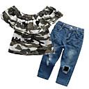 זול מכנסיים וטייץ לבנות-סט של בגדים כותנה קיץ שרוולים קצרים יומי ליציאה דפוס בנות יום יומי סגנון רחוב פול