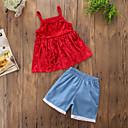 זול שמלות לבנות-סט של בגדים כותנה פוליאסטר אביב קיץ ללא שרוולים יומי ליציאה אחיד בנות חמוד יום יומי אודם