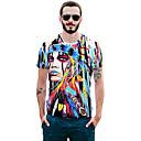abordables Gemelos para Hombre-Hombre Chic de Calle / Exagerado Discoteca Estampado - Algodón Camiseta, Escote Redondo Bloques / Animal / Retrato / Manga Corta