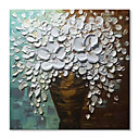 cheap Abstract Paintings-STYLEDECOR® Abstract Hand Painted A Bottle of White Flowers Canvas Oil Painting Wall Art for Home and Office On Wrapped Canvas