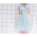 tanie Sukienki dla dziewczynek-Brzdąc Dla dziewczynek Prosty Codzienny Solidne kolory Krótki rękaw Bawełna / Poliester Sukienka Jasnozielony