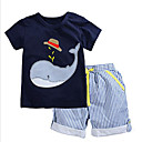 cheap Baby Boys' Clothing Sets-Boys' Daily Going out Striped Patchwork Clothing Set, Cotton Summer Short Sleeves Casual Street chic Blue