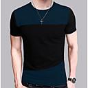 זול סניקרס לנשים-קולור בלוק צווארון עגול סגנון רחוב טישרט - בגדי ריקוד גברים / שרוולים קצרים