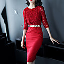 זול שמלות לבנות-מעל הברך צבע אחיד - שמלה נדן רזה בסיסי / סגנון רחוב ליציאה בגדי ריקוד נשים