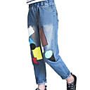 זול מכנסיים וטייץ לבנות-ג'ינס כותנה פוליאסטר אביב סתיו ללא שרוולים יומי אחיד גיאומטרי בנות פשוט יום יומי פול