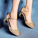 זול סניקרס לנשים-בגדי ריקוד נשים נעליים PU אביב / סתיו נוחות / בלרינה בייסיק עקבים עקב עבה אדום / חום בהיר