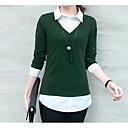 baratos Colares-Mulheres Camisa Social Básico Algodão Decote V / Colarinho de Camisa