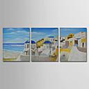 billige Landskapsmalerier-Hang malte oljemaleri Håndmalte - Abstrakt Landskap Moderne Inkluder indre ramme / Tre Paneler / Stretched Canvas