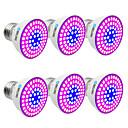 abordables Luz Ambiente LED-BRELONG® 6pcs 6W 300lm E14 GU10 MR16 E26 / E27 Growing Light Bulb 72 Cuentas LED SMD 2835 Azul 220-240V