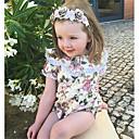 tanie The Freshest One-Piece-Dziecko Dla dziewczynek Boho Święto / Wyjściowe Kwiaty Koronka / Falbana / Kwiaty Krótkie rękawy Modalny Body Beżowy / Śłodkie / Brzdąc