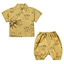 זול חולצות לבנות-יוניסקס יומי גיאומטרי לבוש שינה, כותנה פשתן אביב קיץ שרוולים קצרים חמוד לבן צהוב