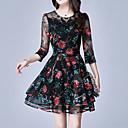 preiswerte Wand-Sticker-Damen Übergrössen Festtage Anspruchsvoll Schlank Hülle Kleid - Bestickt, Blumen Übers Knie