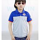 זול חולצות לבנים-חולצה פוליאסטר קיץ שרוולים קצרים יומי בית הספר קולור בלוק בנים יום יומי פול תלתן כחול נייבי