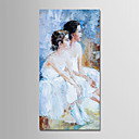 tanie Obrazy: motyw ludzi-Hang-Malowane obraz olejny Ręcznie malowane - Ludzie Nowoczesny Zwinięte płótna / Zwijane płótno