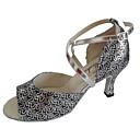 olcso Latin cipők-Női Latin cipők / Salsa cipők / Standard cipők Csillogó flitter Szandál Személyre szabott sarok Személyre szabható Dance Shoes Ezüst