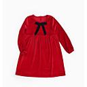 tanie Sukienki dla dziewczynek-Dzieci Dla dziewczynek Vintage Solidne kolory Koronka Długi rękaw Sukienka / Bawełna