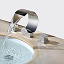 رخيصةأون حنفيات مغاسل الحمام-معاصر واسع الأنتشار شلال صمام نحاسي أصفر مقبضين ثلاثة ثقوب الكروم, بالوعة الحمام الحنفية